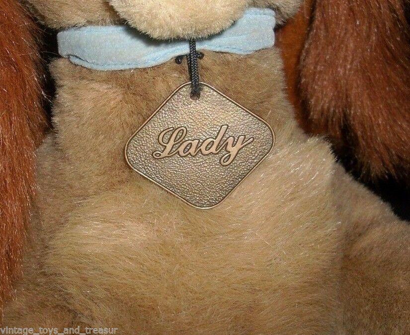 "16"" LAYING LADY AND THE TRAMP DISNEY STORE PUPPY DOG STUFFED ANIMAL PLUSH TOY"