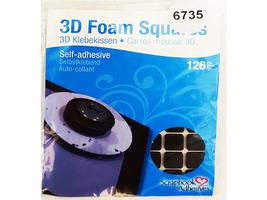 3L 3D Permanent Foam Squares 126-Pkg-Black .5 in. x .5 in.