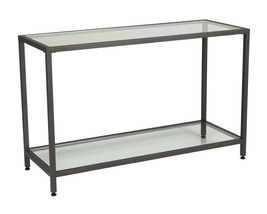 Offex Living Room Camber Console Table Pewter - Clear Glass - $240.99