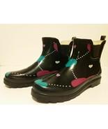 New Norty Women Low Ankle Rain Boots Rubber Black Argyle Heart Shoe Boot... - $37.24
