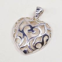 Vintage Italy Milor Sterling Silver Handmade Pendant, 925 Bali Heart - $26.06