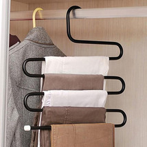 Pants Hanger 5 Layers S Shape Stainless Steel Hangers Jeans Clothes Mult... - $12.10