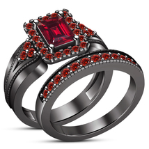 Red Garnet 14K Black Gold Finish 925 Sterling Silver Womens Bridal Ring Set - $108.99