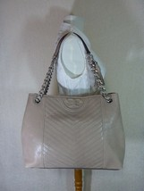 NWT Tory Burch Taupe Distressed Leather Fleming Tote $598 - $572.22
