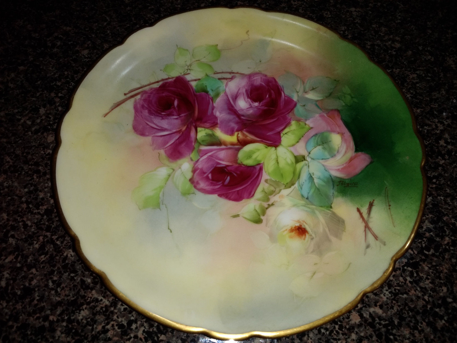 Antique J P L JEAN POUYAT LIMOGES Pickard FRANCE Floral PLATE - ARTIST SIGNED