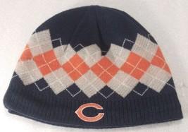 NFL Chicago Bears Reebok Beanie Skull Cap Blue Orange Gray Diamonds Embroidered  - $14.53