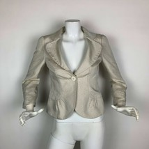 Armani Collezioni Blazer Jacket Silk Ivory Animal Print Women Sz 4 Italy - $79.99