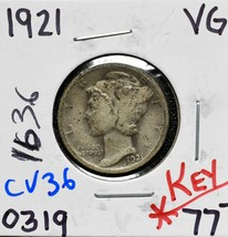 1921 Silver Mercury Dime 10¢ Coin Lot# CV36