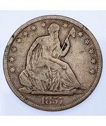 1857 50C Seated Liberty VG Condition, Natural Color, Nice Detail! - $54.44