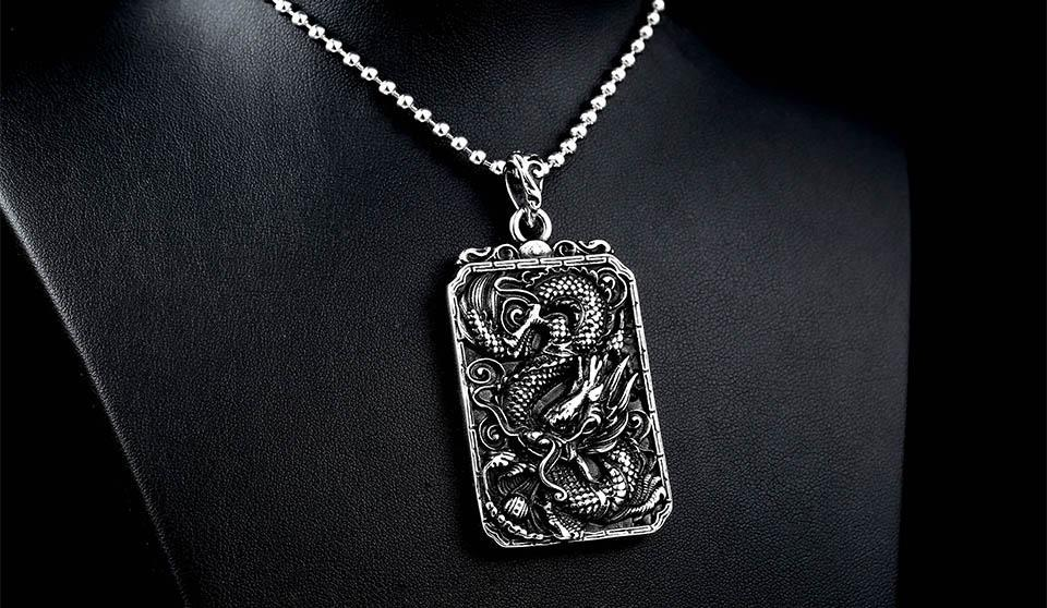 Steel Soldier Dragon / Chinese Theme Men's / Gents Charm Pendant / Necklace image 3