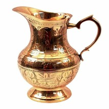 Brass Mughlai Style Designer Jug Handcrafted Pitcher Capacity 1050 ML - $56.25