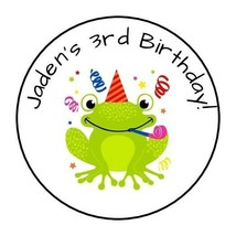 """30 Cute Frog Personalized Birthday Party Stickers Favors Labels round 1.5"""" - $8.99"""