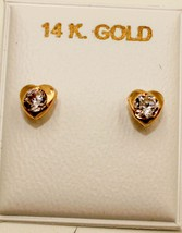 Heart with Cubic Zirconia 4mm 14k Solid Yellow Screw Back Earrings - 4mm... - $32.68