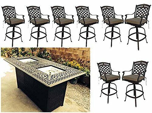 Bar height fire pit dining table 9 piece set cast aluminum patio furniture.