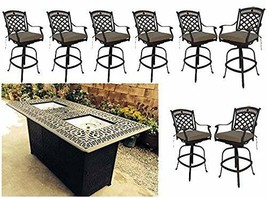 Bar height fire pit dining table 9 piece set cast aluminum patio furniture. image 1