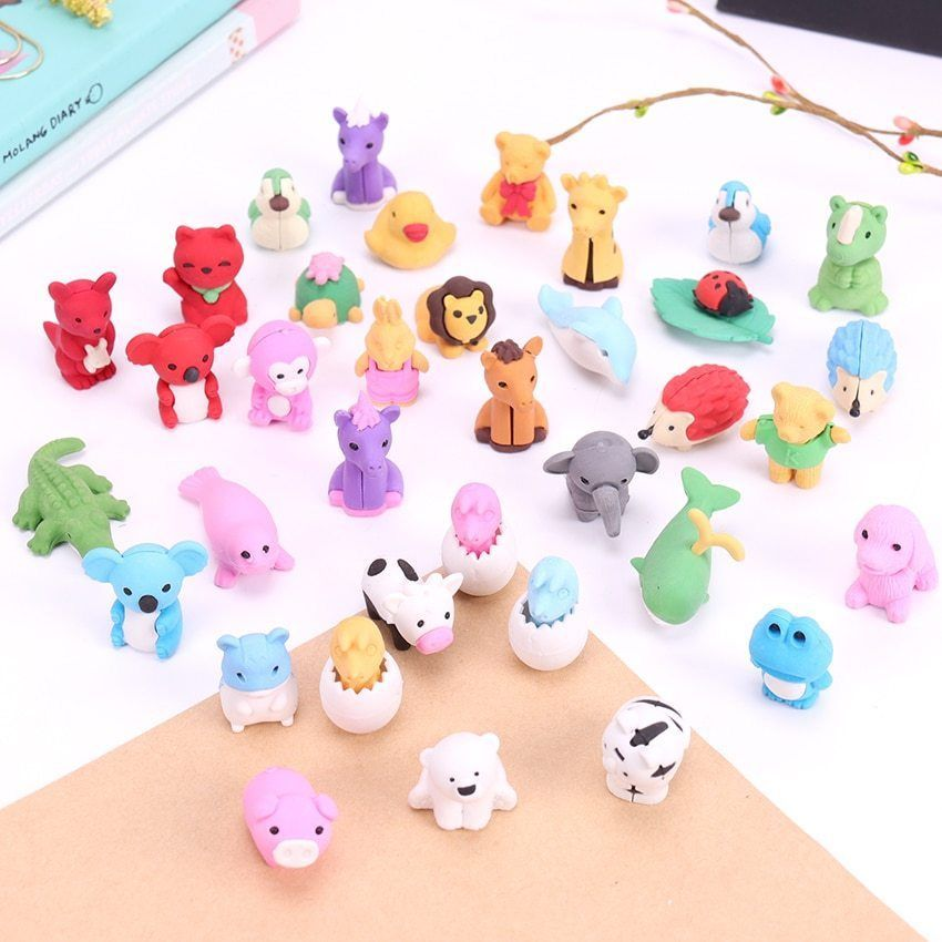 Primary image for XUES® 1PC/Set Cute Kawaii Cartoon Animal Shape Rubber Eraser Student Learning