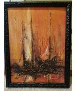 Danny Garcia, Mid-Century Art, Vintage, Sail Boats ,Orange, Black,Retro,... - $55.00