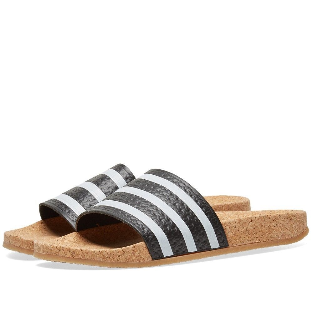 New WOMENS Adidas ADILETTE CORK Slides Sandals Black Brown Flip Flops BA7211  q1
