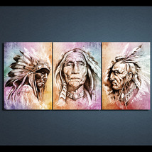 3 Pcs American Indians Feather Wall Pictures Home Decor Printed Canvas P... - $39.99+