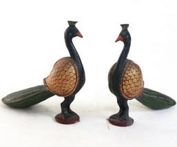 Peacock Pair Pieces Handcrafted Wooden Decorative Home Decor Vintage US6... - $66.50