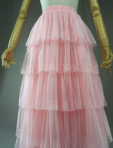 PINK TIERED Tulle Skirt Lady High Waist Tiered Tulle Party Skirt Princess Outfit image 4
