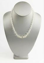 """17"""" ESTATE VINTAGE Jewelry CLEAR GLASS GRADUATED ROUND BEAD NECKLACE ON ... - $10.00"""