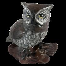 "Vtg Great Horned Owl Sculpture Figurine Porcelain 5"" Tall Taiwan Dark Brown - $12.95"