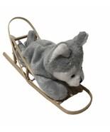 "Dog Sled Wooden Wood Plush Husky 6"" Display Ornament - $22.65"