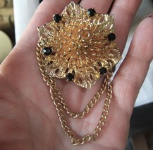 Vintage Gilded Cone Flower Black Rhinestone Chain Dangle Pin Brooch - $9.49