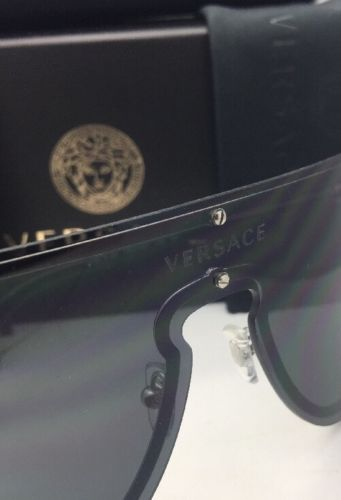 06c7f09c80 New VERSACE Sunglasses VE 2180 1000 87 125 Silver   Black Shield Frames w   Grey
