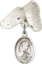 Sterling Silver Baby Badge with St. Sarah Charm and Baby Boots Pin 1 X 5/8 inch - $59.33
