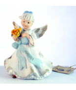 Lefton August birthday girl angel figurine yellow rose porcelain bisque - $28.00