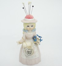 Vintage Reliance Sewing Pin Cushion Hat Girl Figurine with Spool of Thre... - $29.69