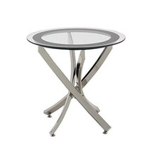 Chairside End Table Sofa Accent Chrome Round Side Tempered Glass Living ... - $202.44