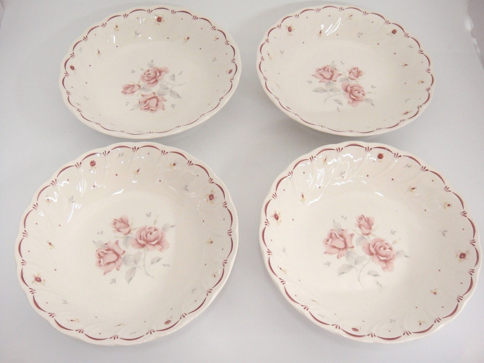 """Nikko Tableware Full Bloom Coupe Soup Bowls 7.75"""" Lot of 4 Pink Roses Scarce"""