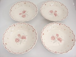 "Nikko Tableware Full Bloom Coupe Soup Bowls 7.75"" Lot of 4 Pink Roses Scarce - $19.79"