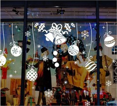 Window Christmas Style Sticker White Snowflakes Bells Festival Holidays ... - $14.15