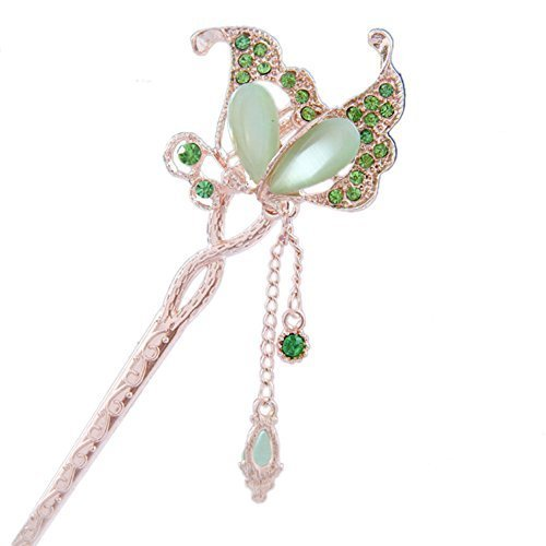 "5.9"" Chinese Traditional Metal Opal Butterfly Ladies/ Girls Hair Stick, GREEN"