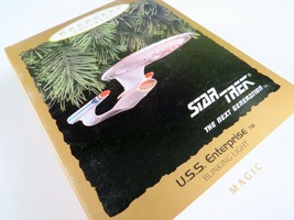 NIB Star Trek Next Generation USS Enterprise Ornament Hallmark, Blinking... - $35.63