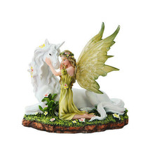 PTC 7 Inch Green Winged Fairy with Magical Unicorn Statue Figurine - $43.55