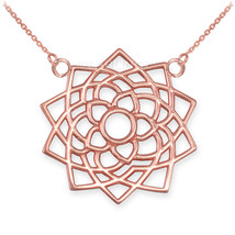 14K Rose Gold Sahasrara Lotus (Unity) 7th Chakra Womens Yoga Necklace - $229.99+