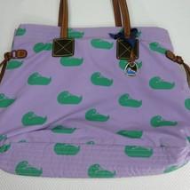 Dooney & Bourke Classic Betty Bag Tote Handbag Purse Purple Canvas Green... - $79.15