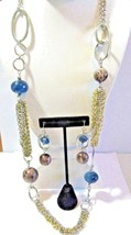 MULTI STRAND SILVER GOLD TONE CHICO'S NECKLACE SET PIERCED EARRINGS BLUE... - $24.00