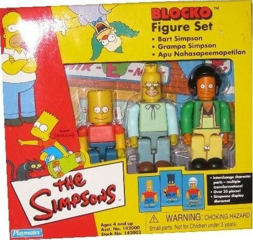 Simpsons Blocko Figure Set NIB Bart Simpson Grampa Simpson Apu Playmates - $20.78