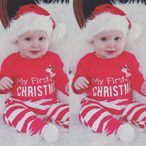 MY First Christmas Oufits Baby Girl Boy Bodysuit+Striped Long Pant 2Pcs Baby Boy - $22.80