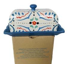 Butter Dish Avon Serafina Collection Floral NIB box vtg Blue art deco ki... - $38.65