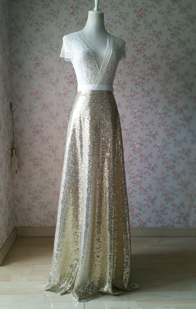 BLACK GOLDEN Sequined Maxi Skirt High Waist Full Sequined Maxi Skirt Prom Skirts image 2