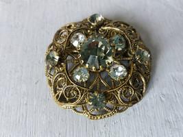 Vintage filigree bronze tone brooch with rhinestones Vintage Brooch Old ... - $25.00