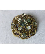 Vintage filigree bronze tone brooch with rhinestones Vintage Brooch Old ... - $25.00