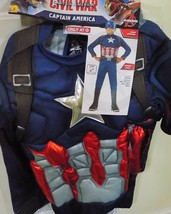 New Boy's Captain America Civil War Muscles Costume Mask Sz Large Nwt Free Ship - $19.50
